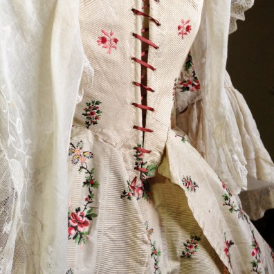 1770's Cream Silk Polonaise, Gorgeous Georgians at Berrington Hall 2014. From the Charles Paget Wade Collection stored at Berrington Hall.