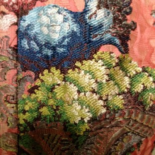 Brocade detail of Riding Jacket, 1736-40, Gorgeous Georgians at Berrington Hall 2014. From the Charles Paget Wade Collection stored at Berrington Hall.