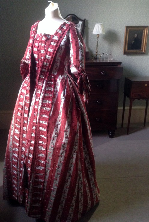 1770s sackback dress, 'Gorgeous Georgians' exhibition at Berrington Hall 2014, Charles Paget Wade Collection,