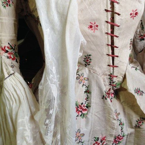 Bodice detail, 1775-80 Polonaise dress, 'Gorgeous Georgians' exhibition at Berrington Hall 2014, Charles Paget Wade Collection.
