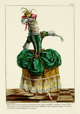 Gallerie des Modes et Costumes, Polonaise dress, 1780's.