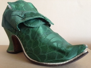 1742-44, Emerald green damask shoes. Charles Paget Wade costume collection, stored at Berrington Hall