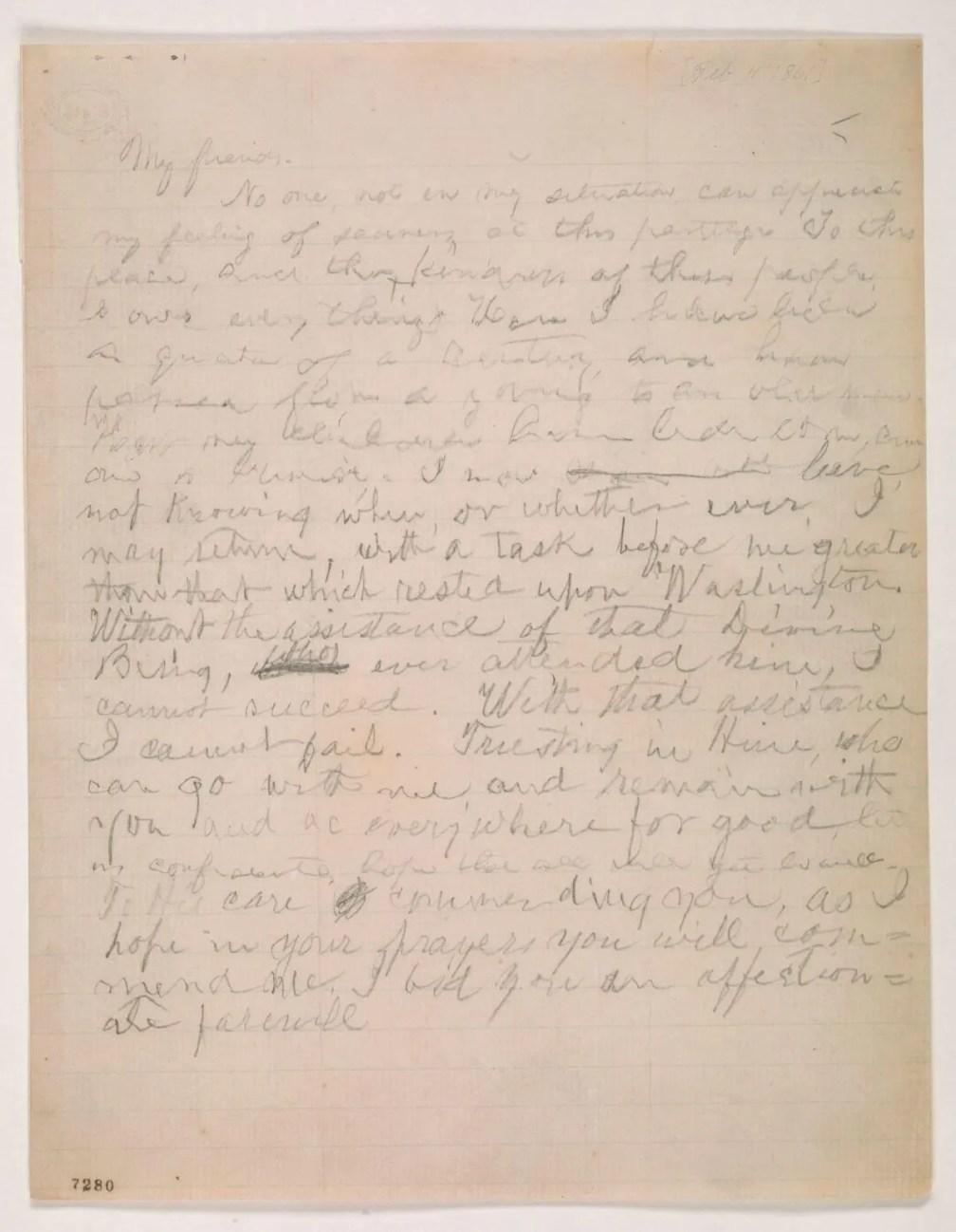 Hand written text of Lincoln farewell address