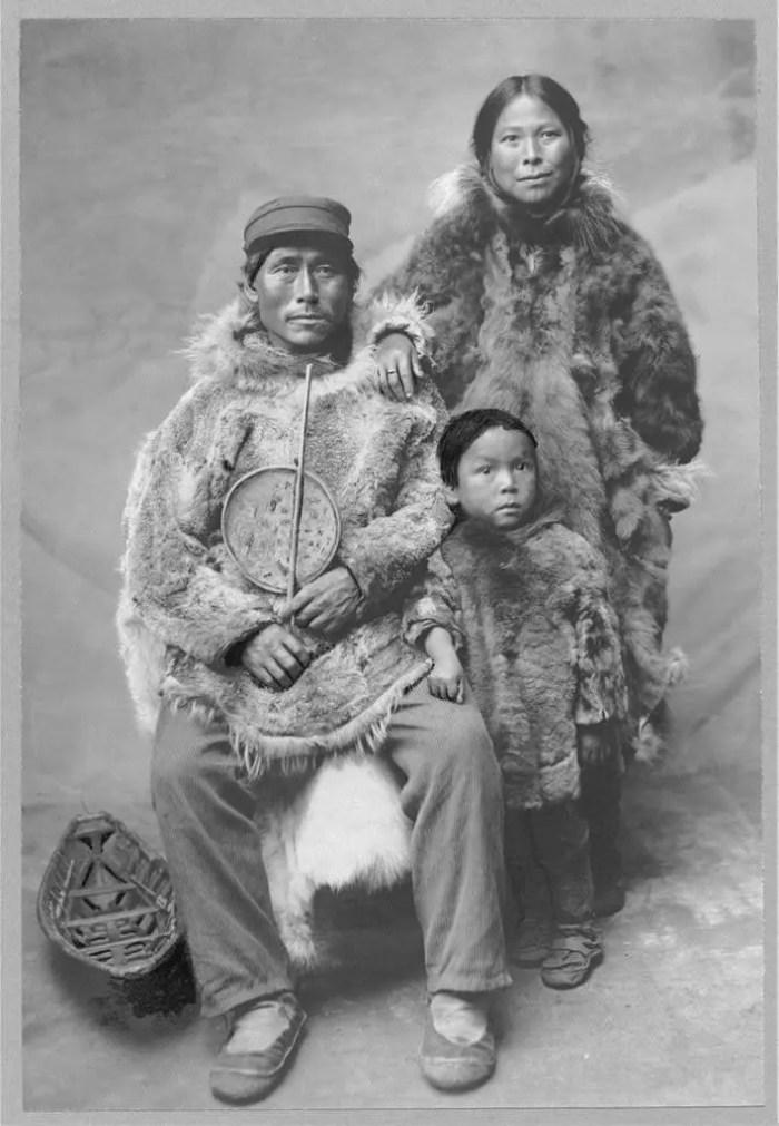 Portrait of a family, Alaska, circa early 1900s.