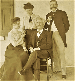 Helen Keller, Anne Sullivan, Mark Twain and publisher Laurence Hutton at one of their first encounters in 1894