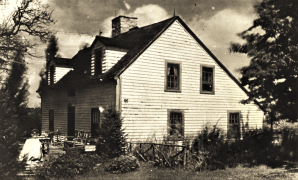 245 Rock House Road. Perhaps the oldest known house in Easton it dates between 1683 and 1710. 1937 Photo when house was owned by Jane Dillon, it has since been restored to orginal appearance and dormers removed.