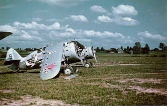 """Wreckage of Soviet I-153 """"Chaika"""" fighter in the Operation Barbarossa."""