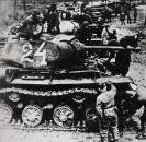 Soviet KV-1 heavy tanks prepare to counter-attack at Kursk.