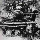 Soviet KV-1 heavy tanks prepare to counter-attack at Kursk.