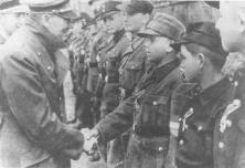Hitlers last public appearance in 1945 with Hitler Youth defenders of Berlin.