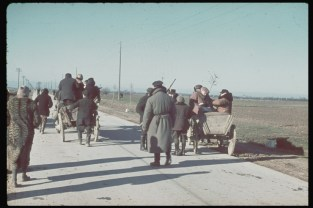 Polish farmers and peasants flee German military during invasion of their country, 1939.