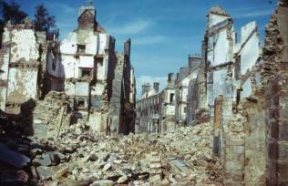 Destroyed town in northwest France, summer 1944.