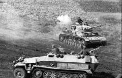 German Panzer IV and Sdkfz 251 halftrack at Kursk.