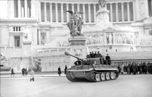 German Tiger I tank in front of the Altare della Patria in Rome in 1944.