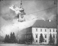 The Royal Castle in Warsaw burning 9-17,1939.