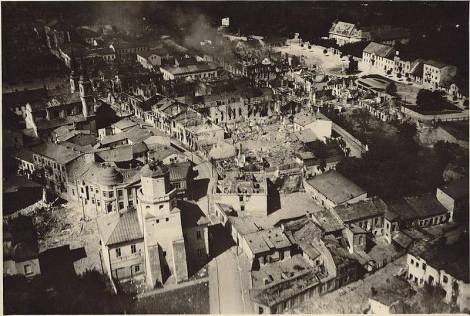 The city of Wieluń destroyed by Luftwaffe bombing.