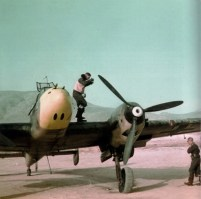 Messerschmitt Bf 110 photographed on its return to Athens-Kalamaki airport, probably from a mission over Crete. Pilot outside the cockpit.