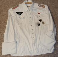 Ritterkreuzträger Otto Carius summer white tunic copied from his Oak Leaf portrait photo. Order Catalog for http://soldat.com/ or Soldat FHQ on Facebook.