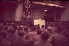 German Fuhrer and Reichskanzler (essentially Chancellor) Adolf Hitler (1889 - 1945) speaks at the Burgerbraukeller in Munich, Germany, November 8 or 9, 1938. The speech was part of the National Socialist German Workers' Party (Nazi, NSDAP) remembrance of their attempted 1923 coup d'etat known as the Beer Hall Putsch.