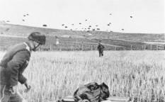 German paratroopers (Fallschirmjäger) landing on Crete.