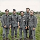 A group of veteran prisoners captured at Maltot, south west of Caen, Normandy.