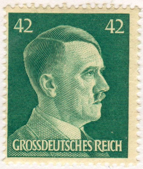 Hitler portrayed on a 42 pfennig stamp from 1944. The term Grossdeutsches Reich (Greater German Reich) was first used in 1943 for the expanded Germany under his rule.