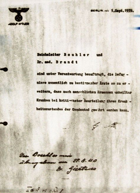 Hitler's order for Action T4, dated 1 September 1939.