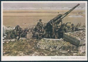 Atlantic wall defense gun emplacement pictured on this Dutch card.