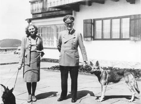 Hitler in 1942 with his long-time lover, Eva Braun, whom he married on 29 April 1945.