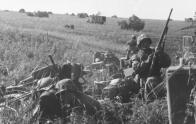 German motorised troops prepare to move out.