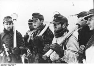 German soldiers, armed with Panzerfaust anti-tank grenade launchers, in February 1945.