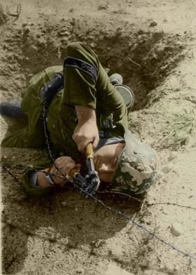 Pioneer from Großdeutschland cutting the wire fences.