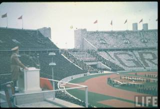 Adolf Hitler at May Day celebrations in Olympic stadium, 1939.