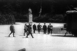 On 21 June 1940, near Compiègne in France, Hitler (hand on hip) staring at Marshal Foch's statue before starting the negotiations for the armistice, to be signed the next day by Keitel, Hitler being absent. Glade of the Armistice was later destroyed together with all commemorative monuments (except Foch's statue) by the Germans.