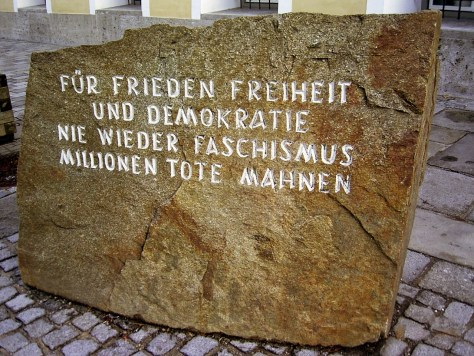 Outside the building in Braunau am Inn, Austria, where Hitler was born, is a memorial stone placed as a reminder of the horrors of World War II. The inscription translates as: For peace, freedom and democracy never again fascism millions of dead remind us.