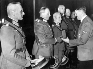 Hitler awarding the Knight's Cross to generals Franz Halder, Heinz Guderian, Hermann Hoth, Adolf Strauss, Erich Hoepner and Friedrich Olbricht , 27 October 1939.