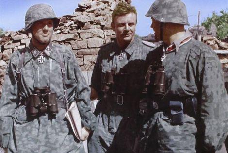 Pictured here are the great trio of the Das Reich Division (from left to right) SS-Hauptsturmführer Helmuth Schreiber, SS-Standartenführer Heinz Harmel and SS-Sturmbannführer Günther Wisliceny, August 1943.