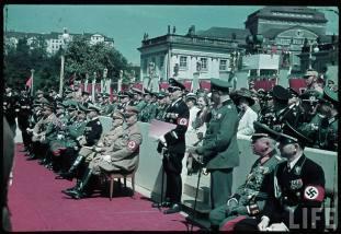 Reichs Veterans Day at Kassel, Germany, 4 June 1939. From right to left : Reichspressechef Otto Dietrich, Carl Eduard The Duke of Saxe-Coburg and Gotha, ?, ?, Gauleiter Karl Weinrich, Adolf Hitler, Erich Raeder, Walther von Brauchitsch, Wilhelm Keitel, Heinrich Himmler, Franz Ritter von Epp and Martin Bormann.