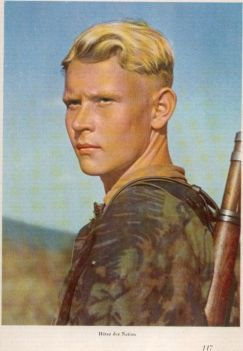 SS soldier in camo on a print.