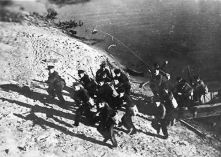 Soviet marines landing on the west bank of the Volga River.
