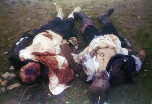 The bullet-ridden bodies of two SS guards who were killed in the Ohrdruf concentration camp soon after the liberation.