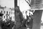 The execution of the underground fighter Vladimir Vinogradov, who killed a German soldier in Vitebsk.