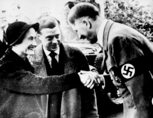 Wallis Simpson and Edward VII of England with Adolf Hitler at the Berghof October 22, 1937.