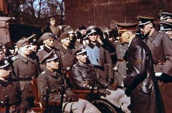 Adolf Hitler (Führer und oberster Befehlshaber der Wehrmacht) visiting wounded soldiers in Unter den Linden, Berlin, as a part of Heldengedenktag ceremony, 21 March 1943.