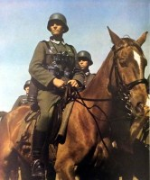 "This German soldier is preparing to move further after a rest, 1941. With him one of the millions of horses who did their ""duty"" for Wehrmacht in World War II. The soldier is holding a plucked chicken and his k98 rifle is slung on his shoulder."