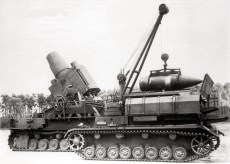 60 cm mortar being loaded by the Panzer IV ammunition carriercrane.