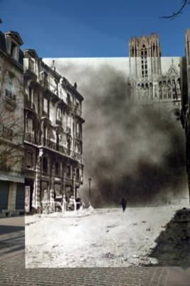 The first image shows people walking near the Cathedral in Reims, France, on March 11, 2014. The second image shows the cathedral of Reims during a bombardment in April 1917.