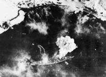 Tirpitz under attack by British carrier aircraft on 3 April 1944.