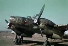 Messerschmitt Bf 110 in Russia in the spring 1942, probably at Stalino airfield.