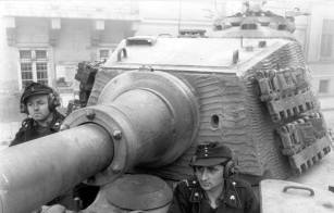 """A clear view of the angular front of the """"Henschel"""" production turret, taken during Operation Panzerfaust in Budapest, 15 October 1944."""